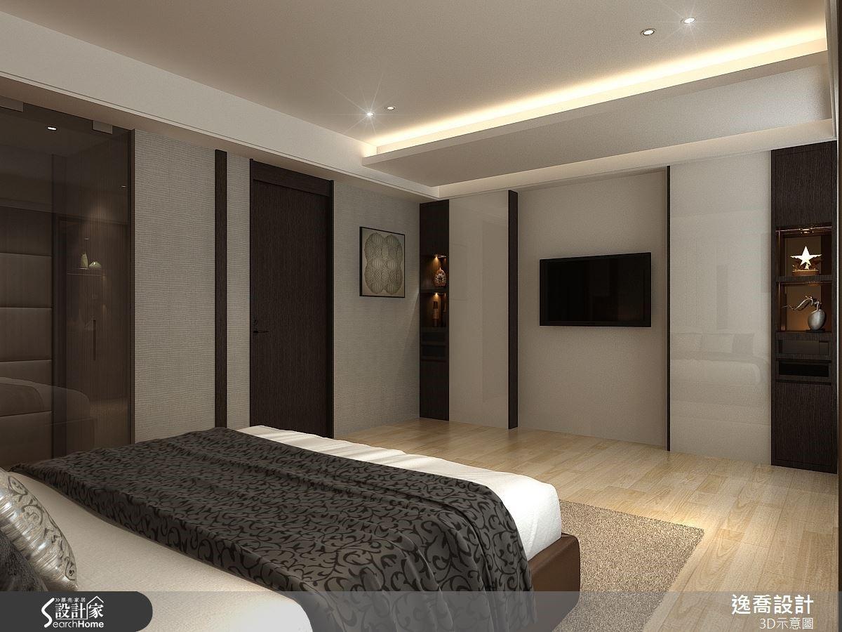 而空間整體的色調也是呈現深咖啡色木質與淺色壁紙及烤漆玻璃的搭配,賦予創意十足的視覺樂趣。