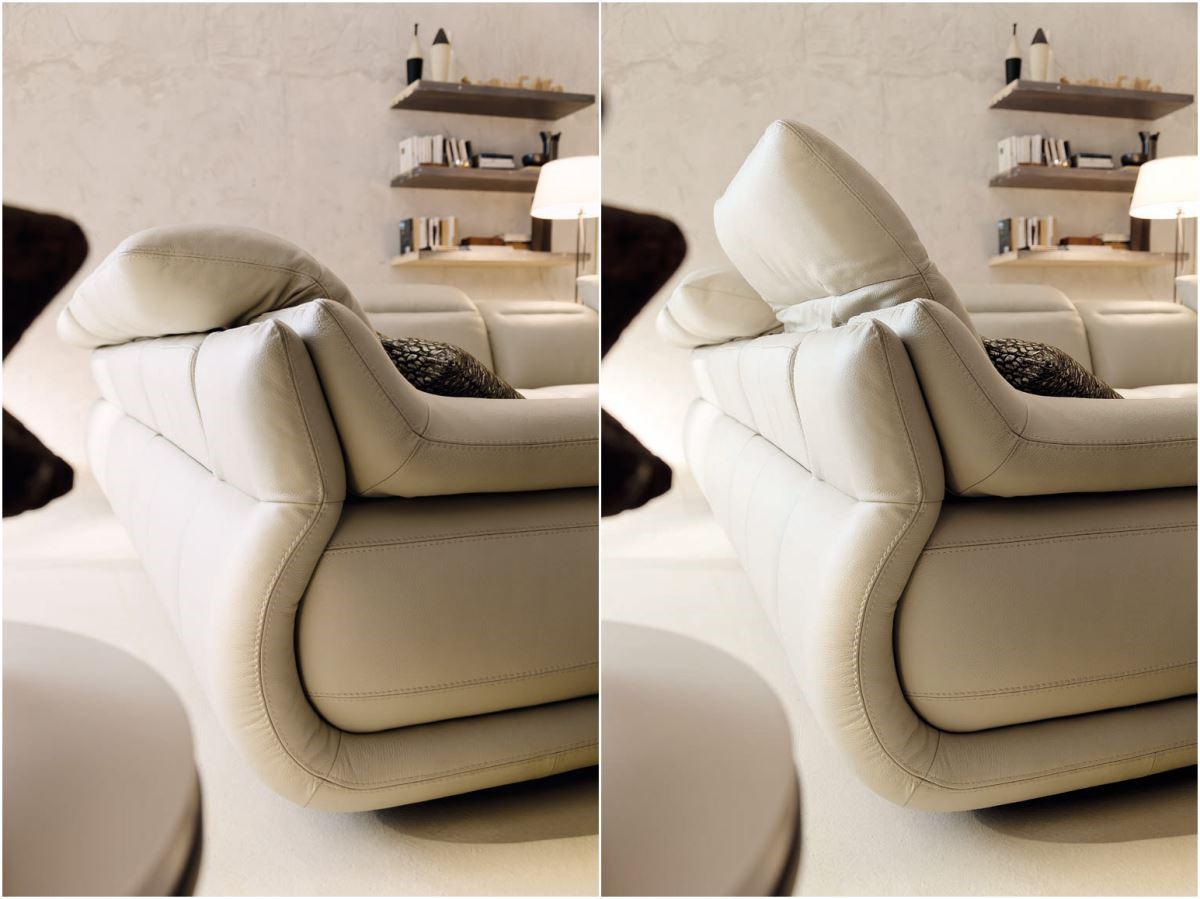 INDIANAPOLIS 刻意加寬的可調式扶手和包覆於皮革中的隱藏式五金,讓沙發坐感、觸感提升。