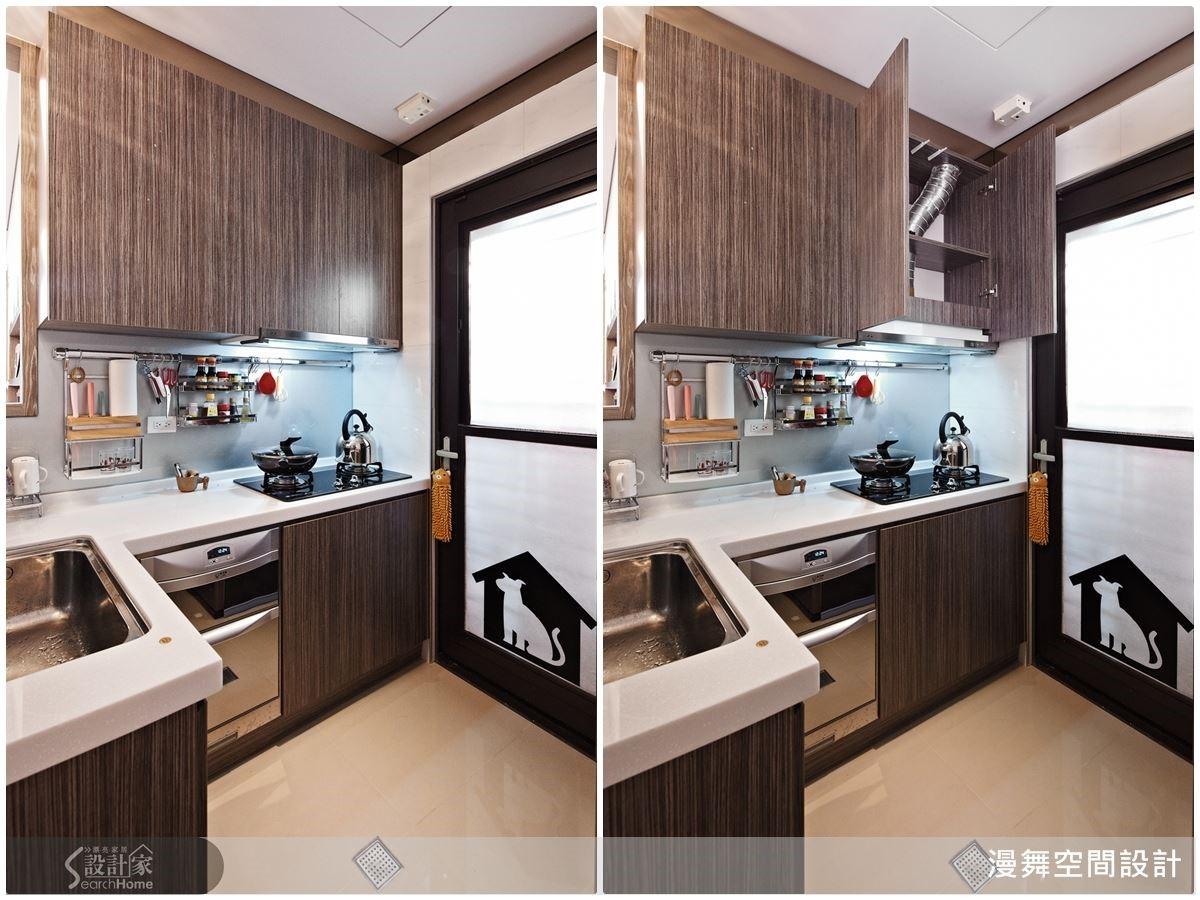 林育如主張,「廚房好用是最重要的!」因此廚房機能的安排也應該依據使用者的人體工學來規劃。例如林育如自己的廚房,為了讓孩子也能一起學會幫忙家事,所以把洗烘碗機設置在流理台下方,當她自己要使用時也更為省力。