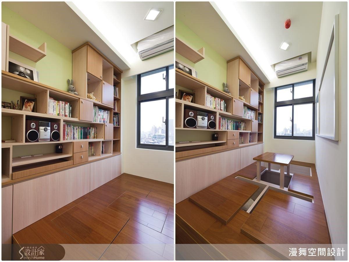 架高的和室區域也是林育如的秘密武器之一:「架高地板的運用方式很多元,除了可以藏入大量的收納機能之外,也可以搭配升降桌使用。」有客人來的時候,把升降桌昇起,就是最佳泡茶聊天的空間啦!