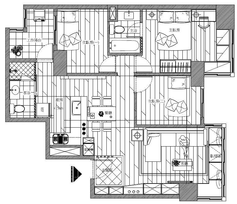 新的格局只是將客浴與廚房位置對調,就完成屋主希望的開放性設計。平面圖片提供_禾創室內設計/禾捷室內裝修設計