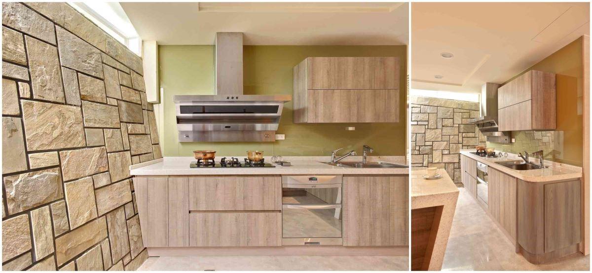 以石材牆面與整套木色質感的廚具,透過材質紋路的變化,展現鄉村風格偏愛原始材質呈現的關鍵精神。