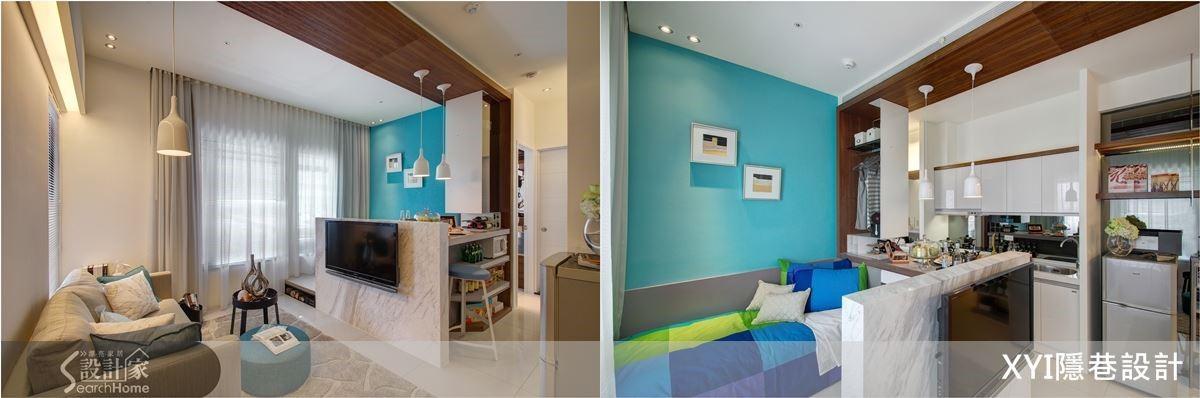 以低檯度的電視牆L型延伸出吧檯,可以用餐也是工作桌,並成為廚房與多機能空間的分界,Tiffany藍的主色牆面,型塑出區塊的獨立。