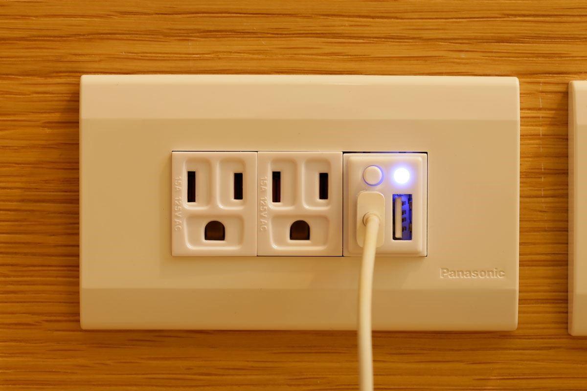 插座前方特製電源安全開關,一有狀況隨時自動停止充電。