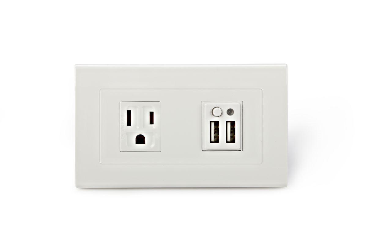 USB 充電插座同時提供電源開關,可直接對電源進行開/關控制,達到節能作用。