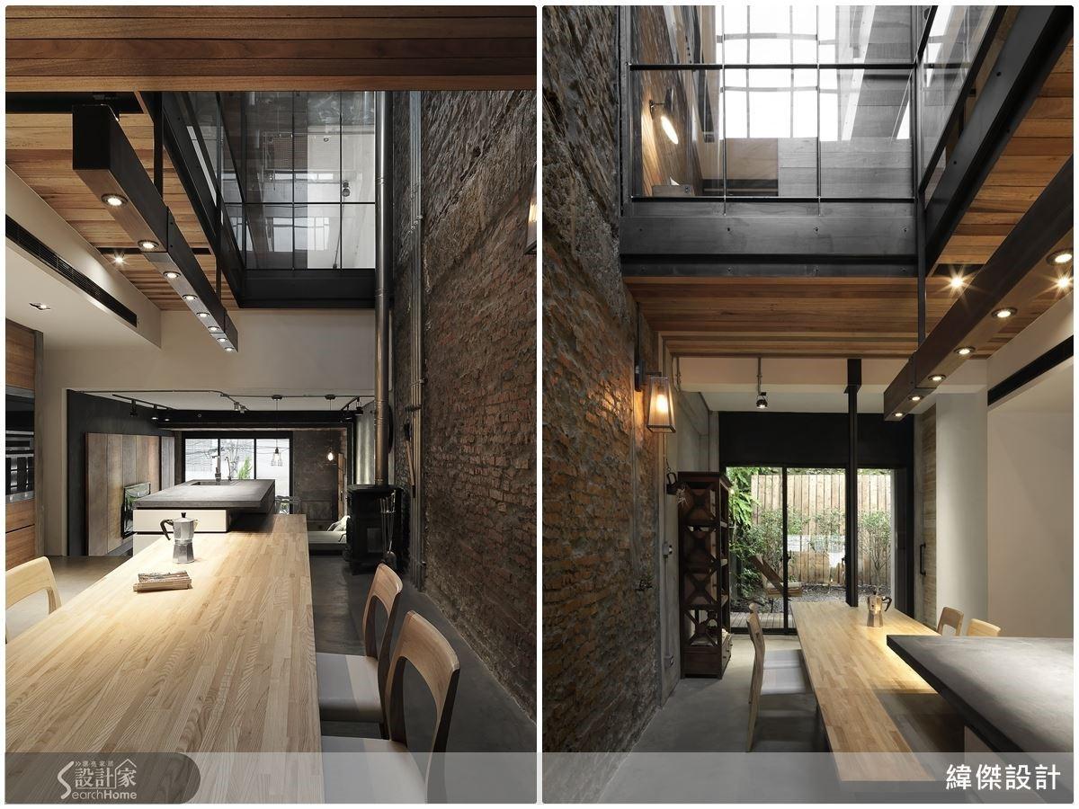 餐廳紅磚主牆,露其表面敷予水泥砂細抹,表現其自然層次。