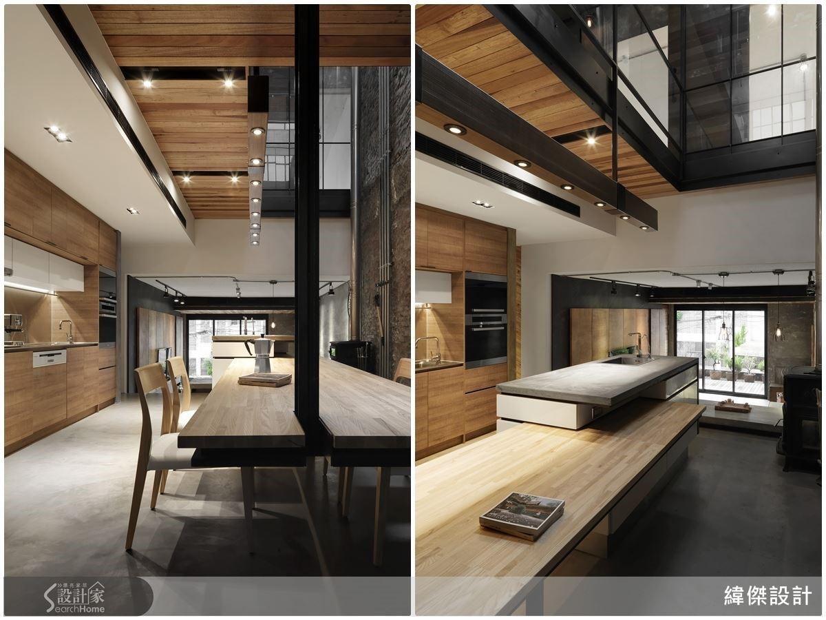 燈由上扶手結構延伸下來,以松木上色的餐吊燈是打造鐵道枕木的感覺。餐桌以一個鋼腳、往上連結攀附上樑,構成空間的造型與視覺連續性。