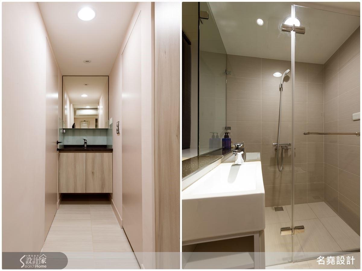 兩間次臥房,收整多餘的後陽台空間,轉化成擁有獨立衛浴的套房格局。客房架高的地面以榻榻米鋪陳,其下的空間為祕密收納區,讓坪效極大化。
