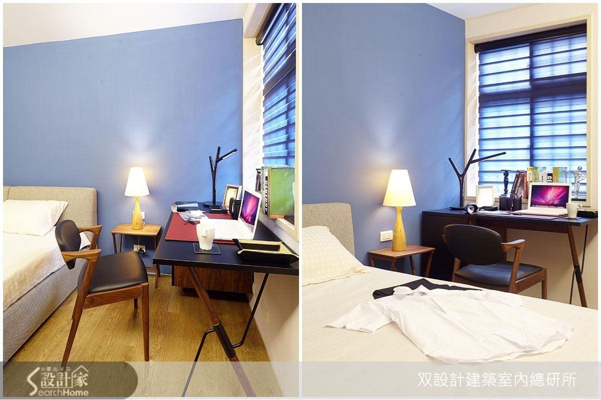以靛藍色作為主臥室壁面的顏色,選擇成熟款式的書桌,搭配個性化的家具,雖然格局不大,仍能充分展現出空間的活潑,同時也是能讓屋主感到放鬆的充電空間。