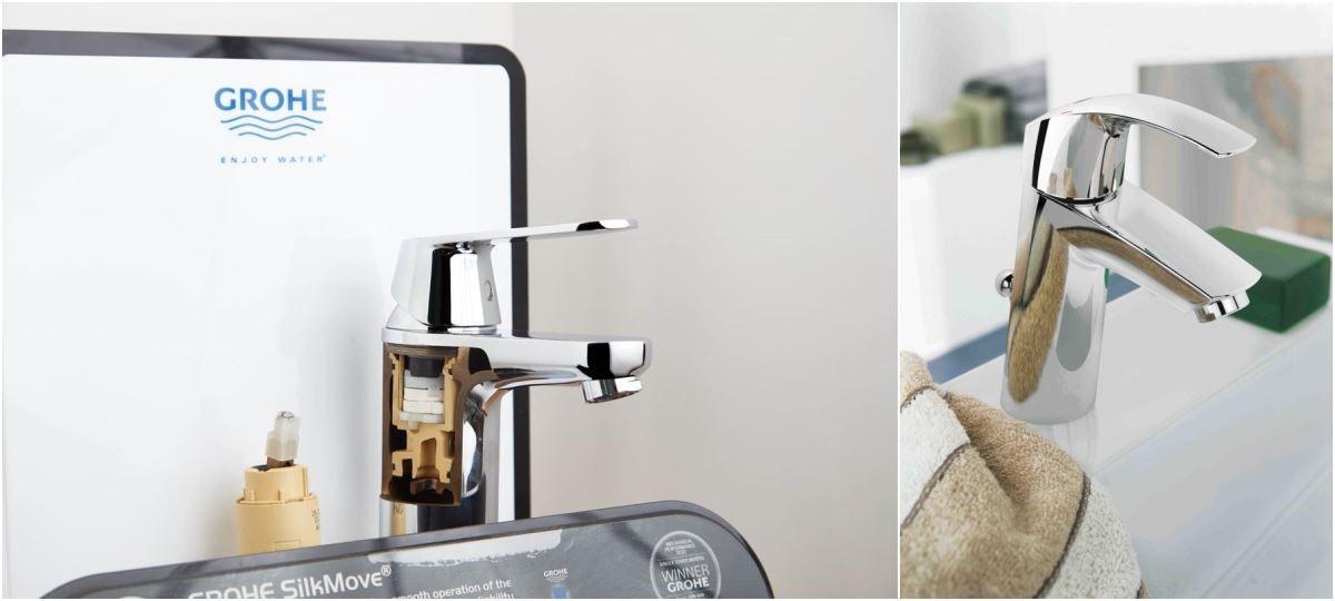 GROHE陶瓷軸心經測試可使用 21 萬次以上。 ( 搭配衛浴設備: GROHE Eurosmart 面盆龍頭 )