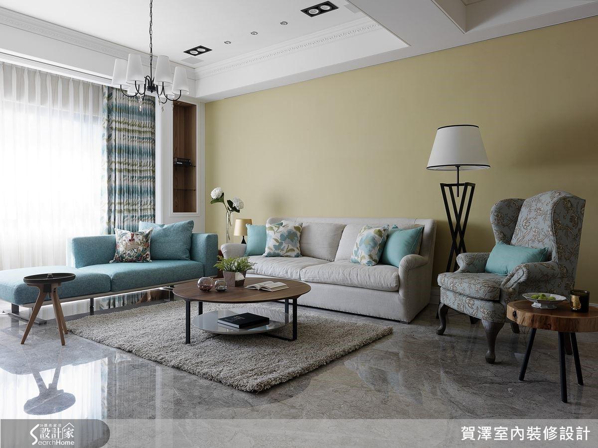揉入藍與黃的活潑色調,統合美式風格與豪宅氣息,兼顧溫馨、活潑與貴氣。