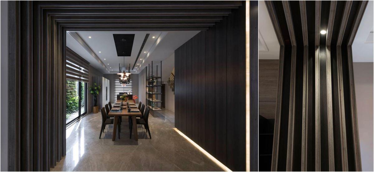 利用兩種色彩的板材與規律的排列方式,創造有著格柵般效果的廊道。