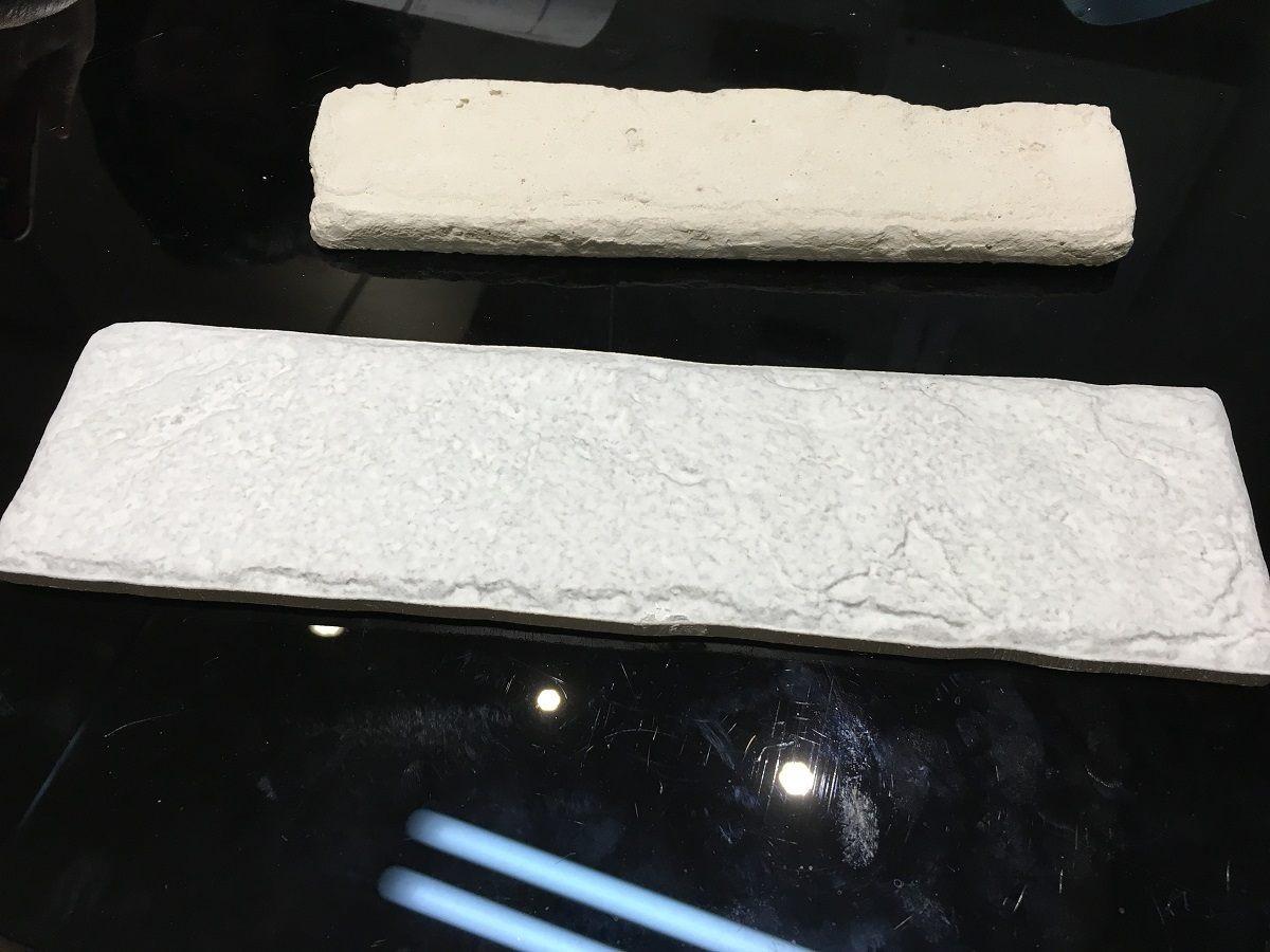 水泥文化石(上)和磁磚型文化石(下)。
