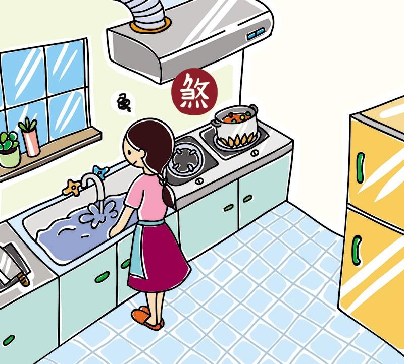 瓦斯爐與水槽水火不容,需要保持固定距離。插畫提供_黑羊