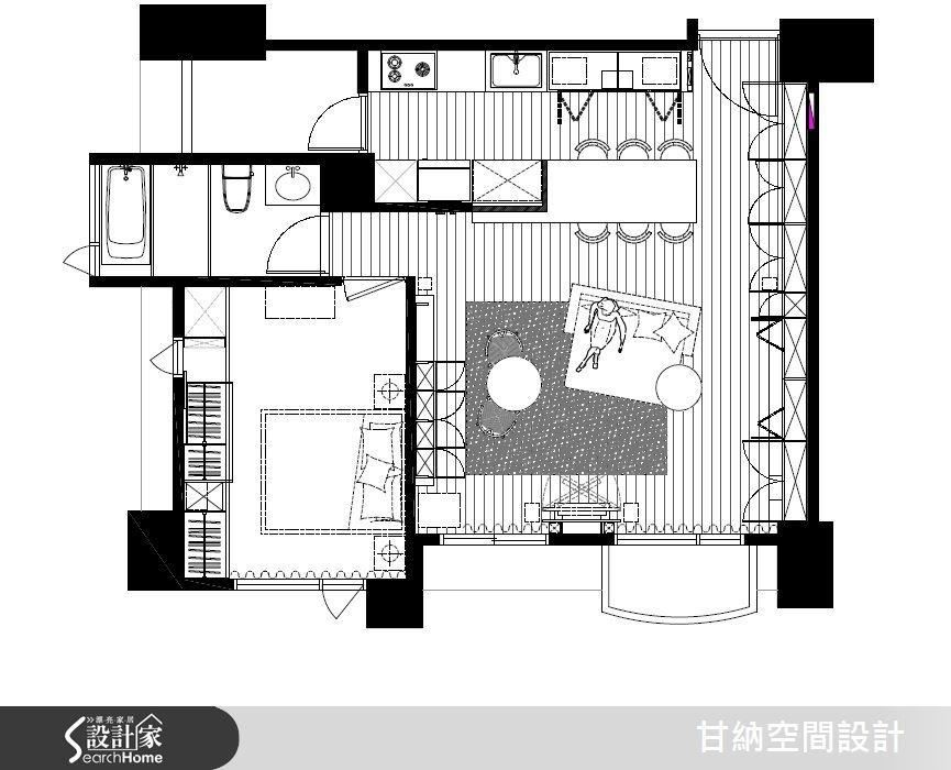 中島吧檯的位置對應於大樑下方,並且讓原本被分為三段的空間,重新擁有不一樣的動線邏輯,使空間使用坪效更加倍。
