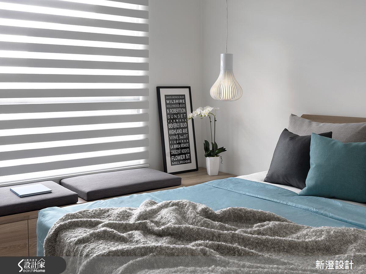 特意利用鏤空線條凸顯內部光源,在自然的北歐臥室中,不失為一個趣味端景。