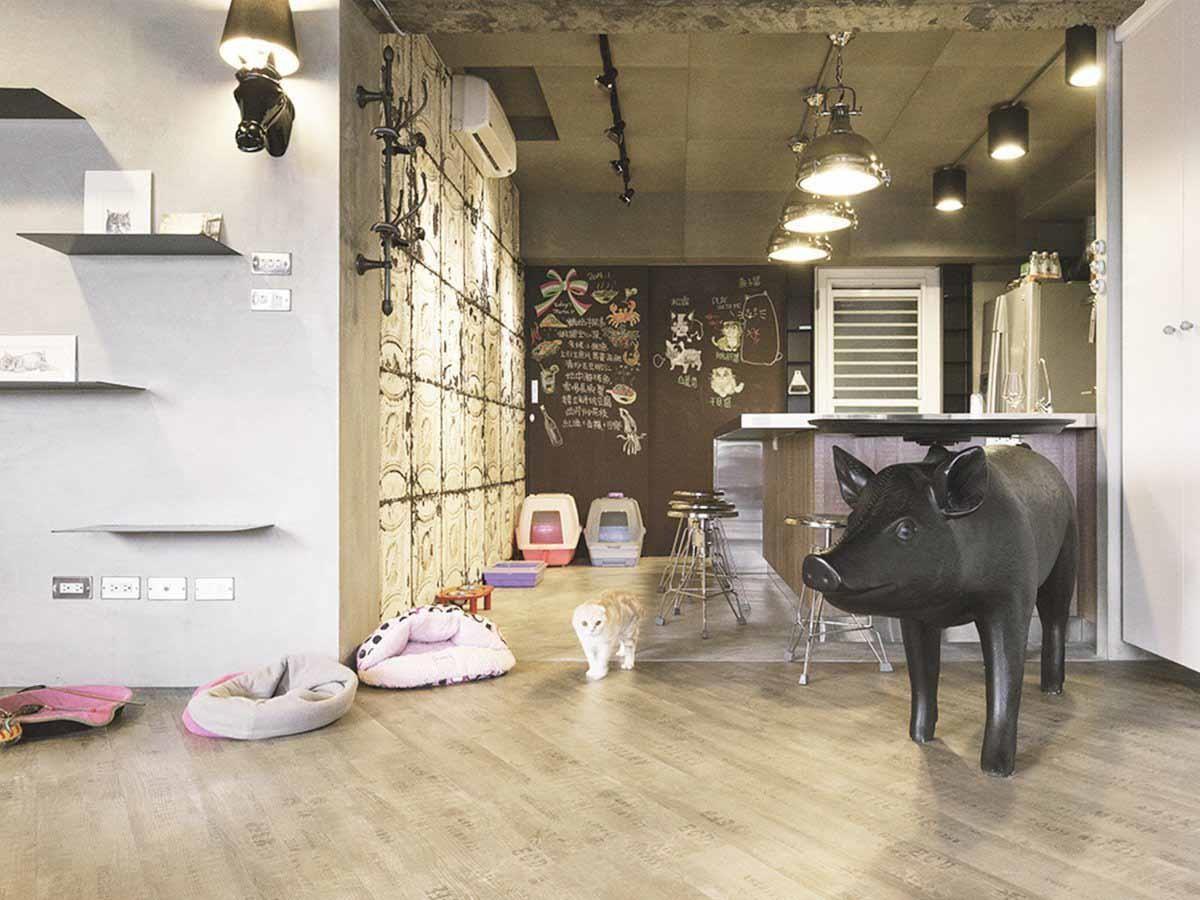 出入自由的開放式格局。開放式客廳與餐廚區,讓貓咪們可自在活動,餐廚區走道旁,以水泥粉光地坪與客廳超耐磨木地板區隔,規劃為貓咪進食、上廁所的區域,料理台兼餐檯的下方還規劃了貓咪用品收納區。