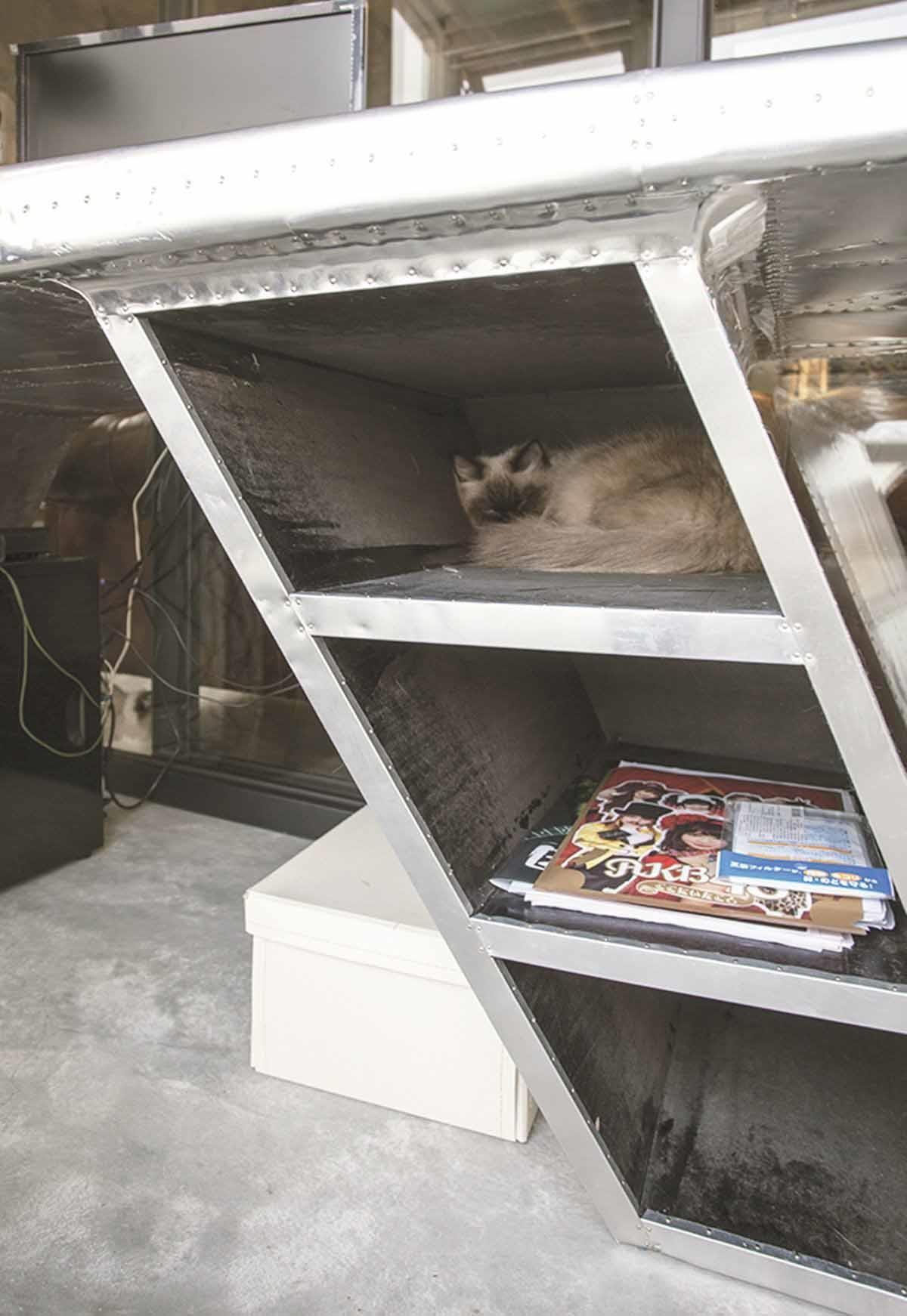 貓咪的秘密基地。工作區的鐵製書桌採用無門片的透空設計, 不僅物品一覽無遺,隱密而小巧的空間,也成為貓咪睡覺的新天地。
