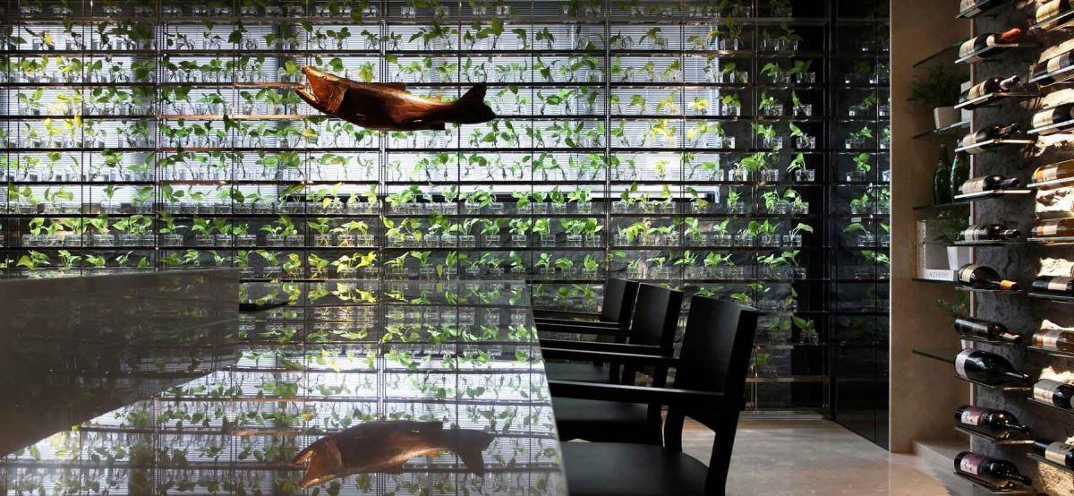 種植400顆黃金葛的植生牆為空間挹注生命力與呼吸感以及生態端景