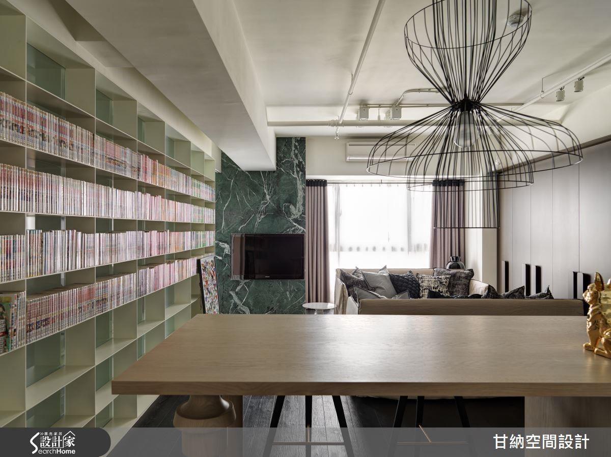 連貫不中斷的書牆在視覺上延伸空間尺度感受,賦予更為寬闊的印象。