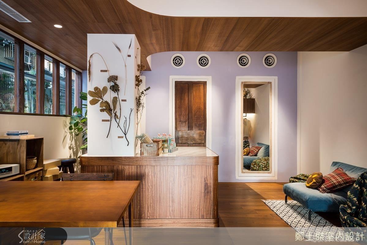 天花板、牆面轉角與吧檯桌面,皆以圓弧的設計語彙互相呼應,再加上綠色植栽或乾燥花裝飾點綴,空間簡約卻不單調。