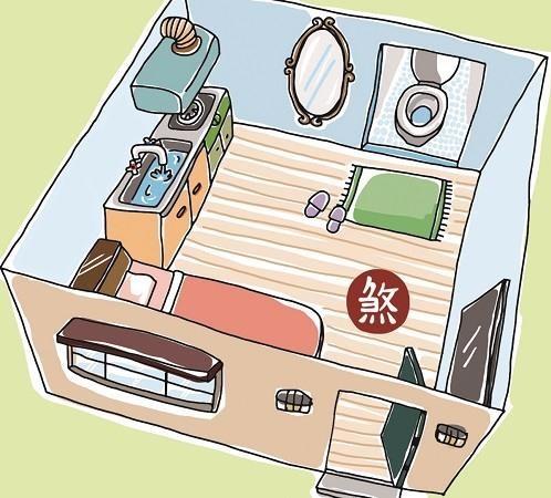 開門直接見到家中的廁所,家中難有貴人。插畫提供©黑羊