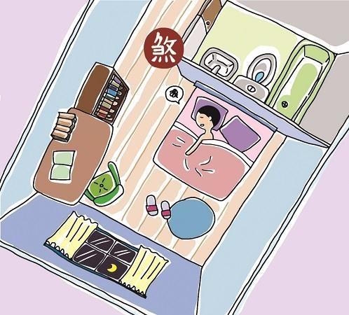 床頭與隔牆浴廁相對,易使房間主人有頭痛或思慮不周等問題。插畫提供©黑羊
