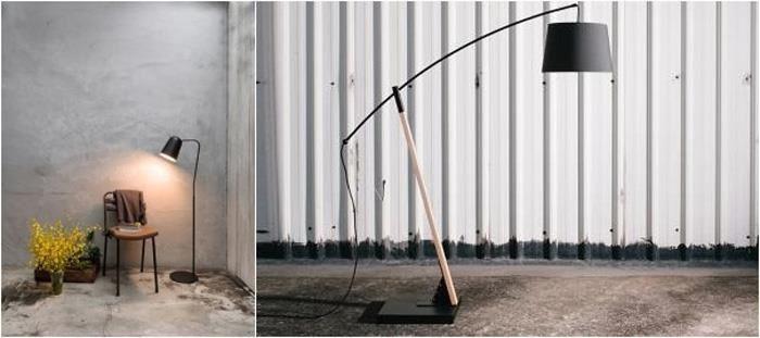 DODO 嘟嘟鳥立燈(左圖)具象化其身形,完美演繹極簡美學,ARCHER 射手座(右圖)立燈以紋理流暢的櫸木作為堅固弓臂,能調整圓弧曲線的角度,補充點綴空間光源,也是空間裡的驚豔焦點。