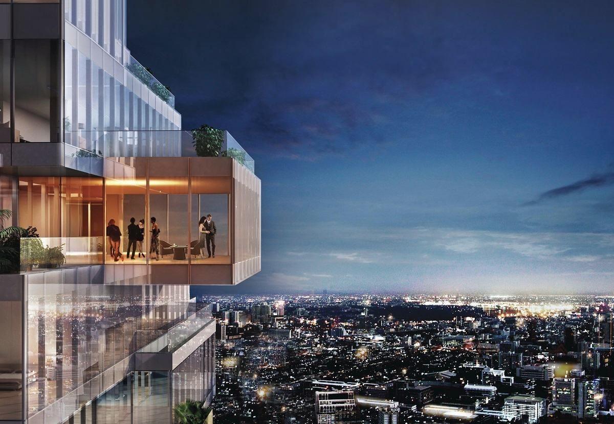 擁有全景玻璃帷幕的陽台,讓人可以隨時走向曼谷最奢華的頂端。
