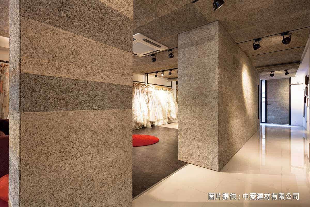 以跳色鑽泥板自然分割牆面,增加層次感,卻不搶去展品主角丰采。