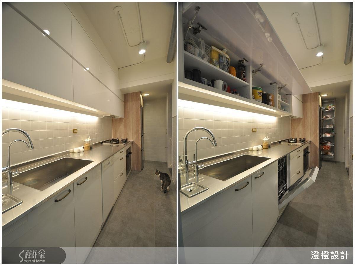 一字型廚房的收納動線可將冰箱與儲物櫃設置於頭尾,並將總長控制於 200 公分以內,才不會拖累烹飪時程。