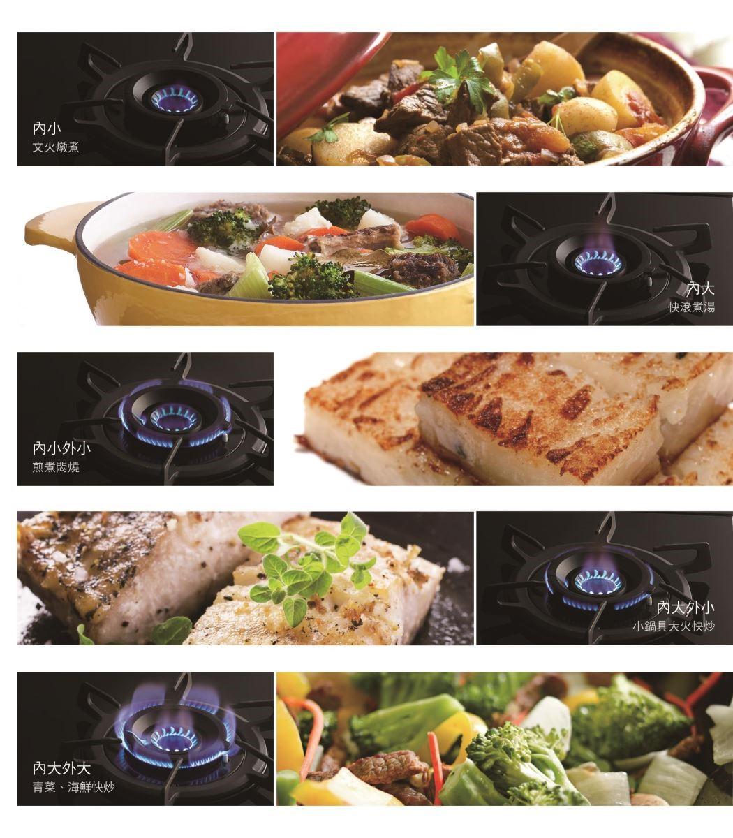 內外火力五段搭配變化,適應千變萬化的料理型態。