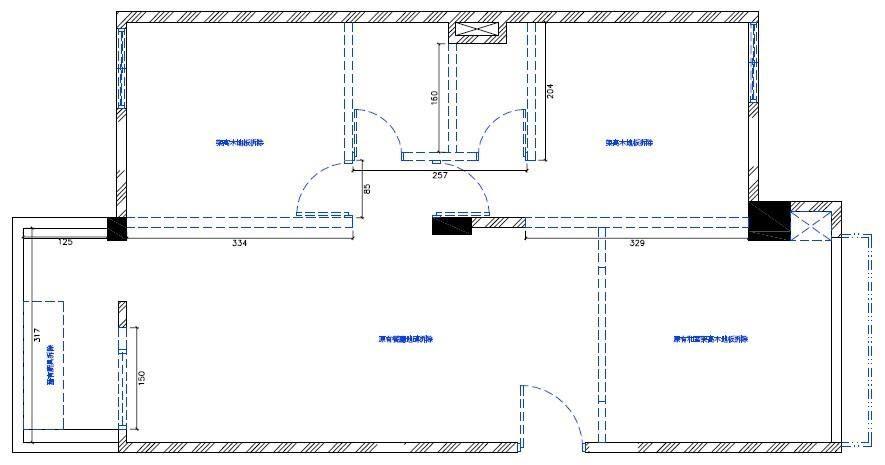 裝修前的平面圖,藍色虛線處為敲除掉的原有隔間牆。