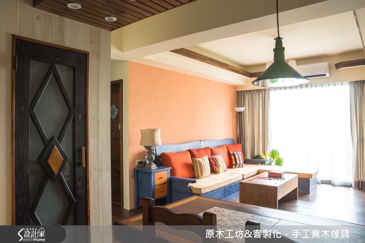 客餐空間的轉角處藏了一個儲藏室,針對大物件的收納,如:吸塵器、電風扇、輪椅,用木門片裝飾美化,不影響視線與動線,機能收納大型物件。