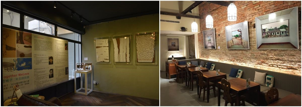 藝術家許馨文作品於未艾公寓(左)展出;正興咖啡館(右)展出藝術家陳伯義之攝影作品。(照片提供_正興咖啡館)