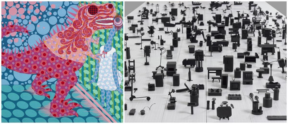 藝術銀行 X TAF空總,展出藝術家廖堉安作品—〈失敗的壁咚〉 (左),以及藝術家洪韵婷作品〈無題〉(局部,右)