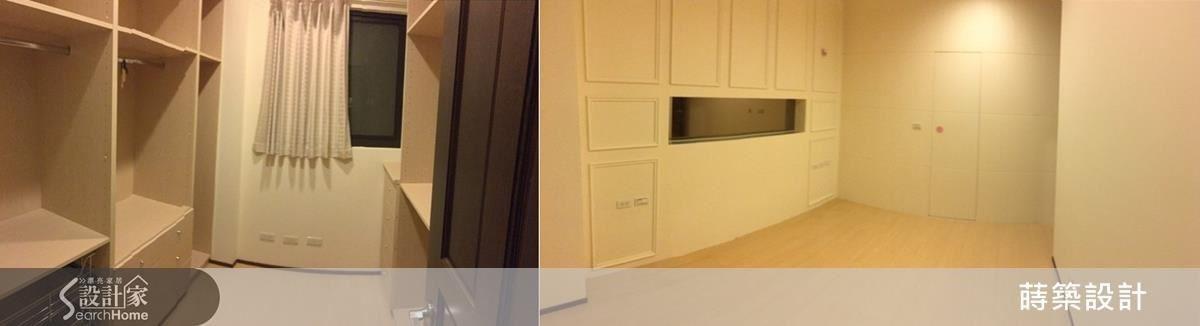 左邊是原有的更衣室,右邊是原有的主臥室,因為不當的裝潢,空間感既侷促又陰暗。