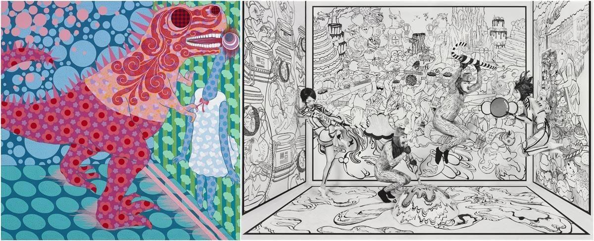 (左)藝術家廖堉安【失敗的壁咚】與 (右)藝術家王建揚作品【漫畫系列:甜蜜風暴】