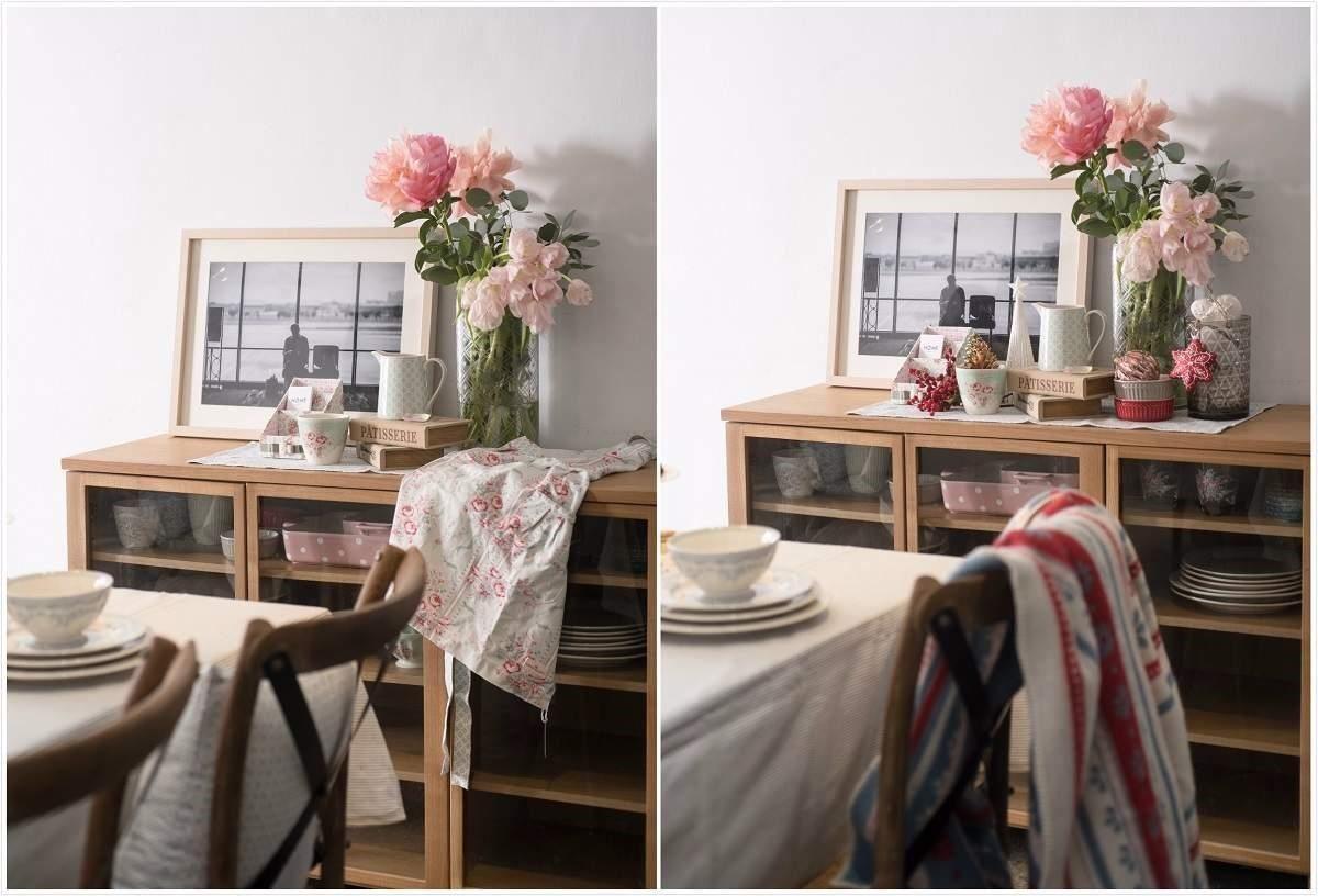 左圖:當季花卉增添五感享受。右圖:活用GreenGate聖誕披毯增加溫暖及聖誕節歡樂感受。