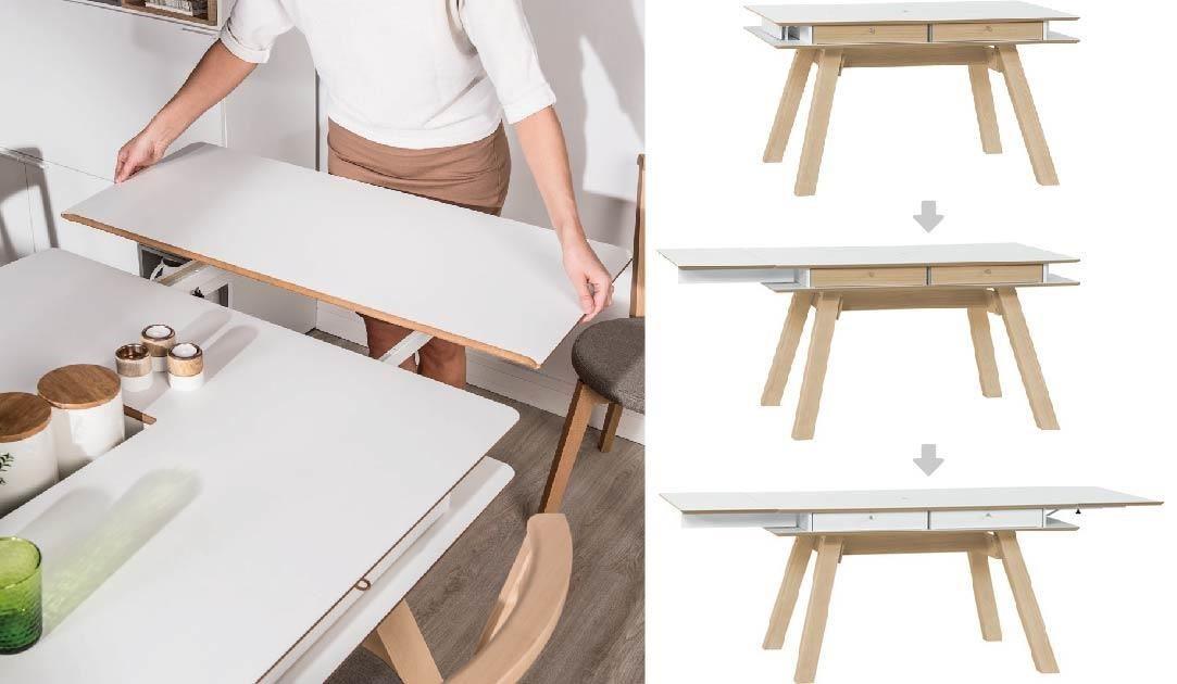 用來延伸的桌板平時就收納於桌面下方,輕巧且不佔空間,連女生都能輕易拆卸操作,抽屜面顏色也可前後隨心情或擺飾轉換。