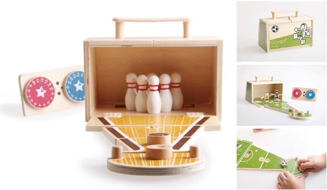 這兩款逗趣又精緻的桌上型手工玩具,很適合全家大小一起消磨難得假期呢,提著走的木盒與計分轉盤更顯童趣呢!