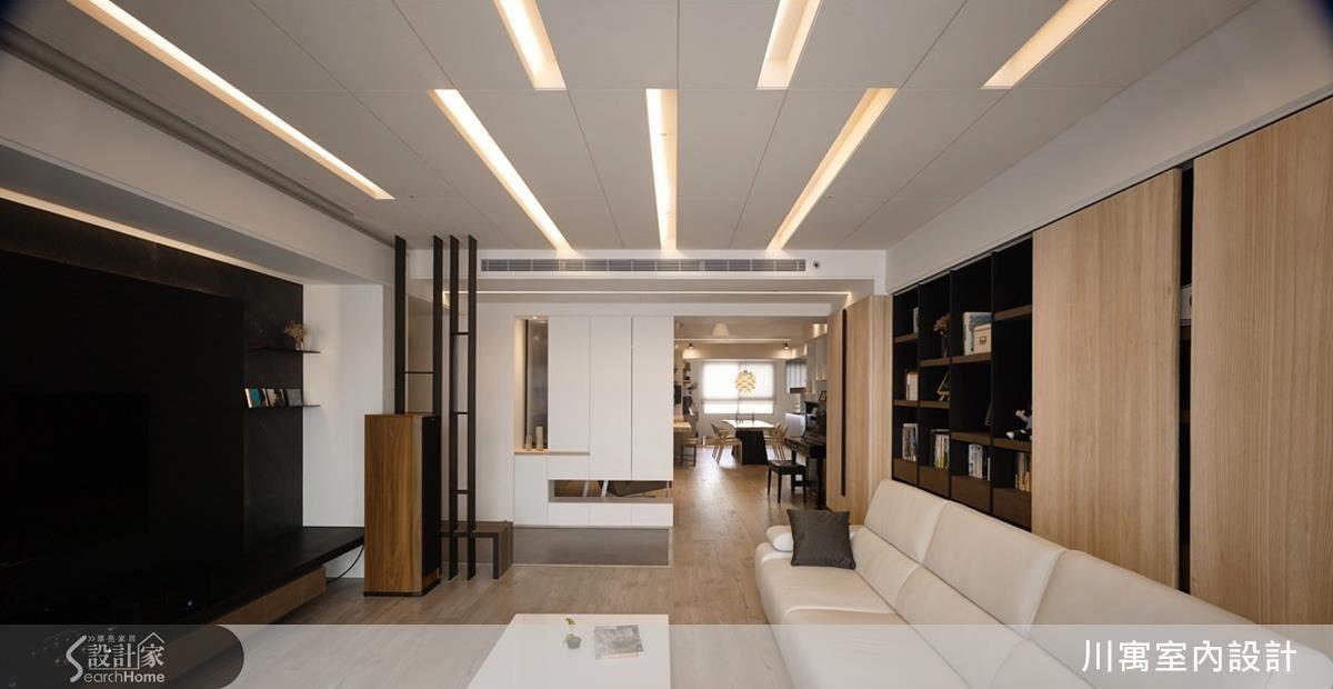 天花設計,滿足屋主對於音響播放效果的需求之外,設計師也將燈光設置分段情境,搭配每日心情調整氣氛。