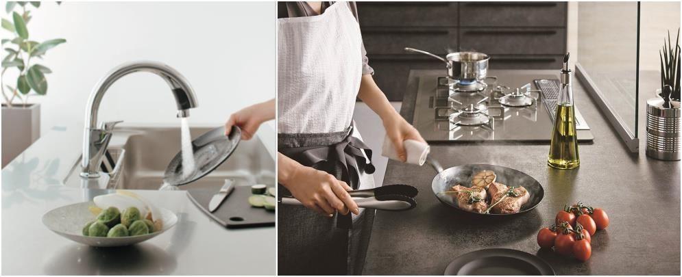 具有現代感的不鏽鋼檯面(左)與質感溫潤的陶瓷檯面(右)不但能滿足不同風格選擇,更重視耐用好清的機能價值。