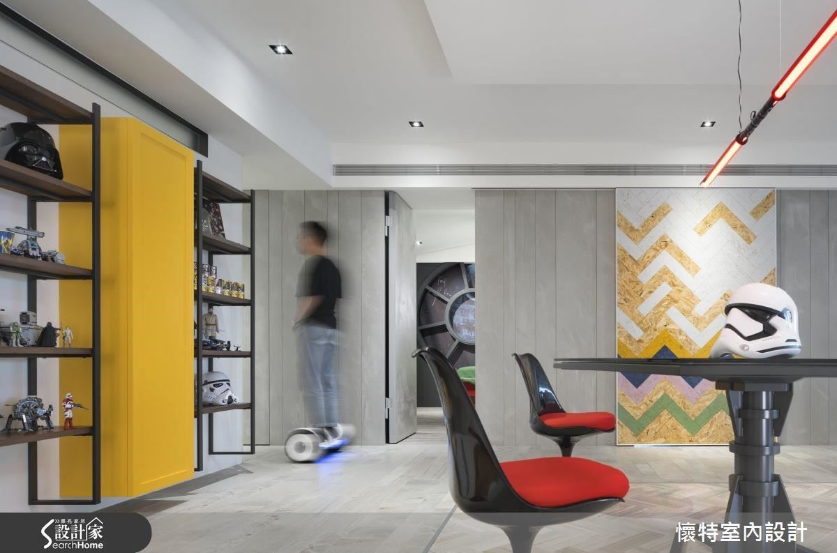 室內以俐落的黑、灰、白為主軸,以大膽的鮮黃、亮紅跳色,也是星戰中常見的經典配色。