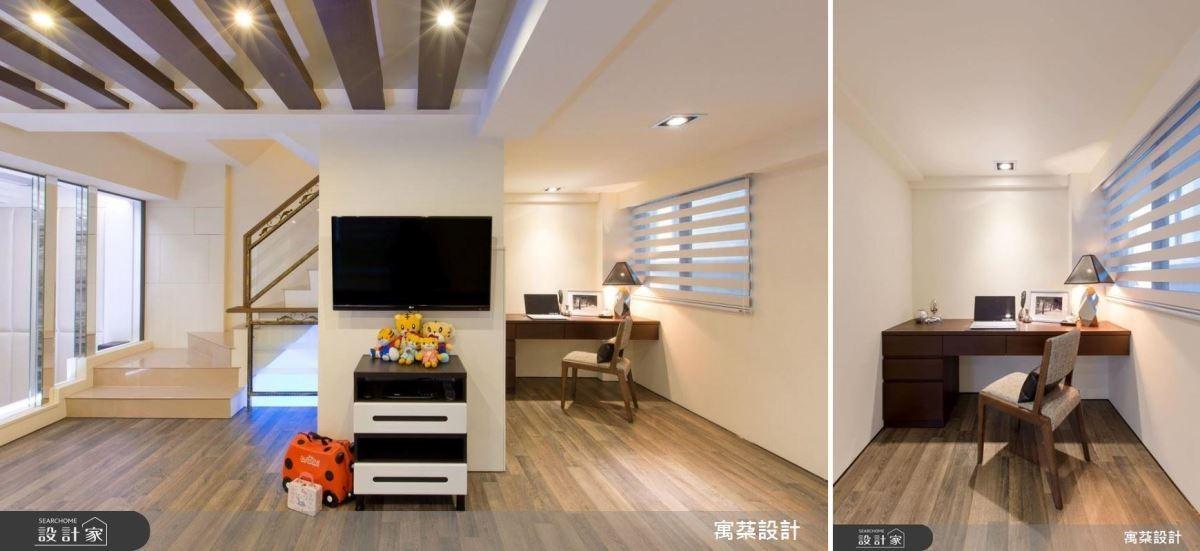 柱體旁的畸零空間,可規劃為梳妝台及書桌使用。