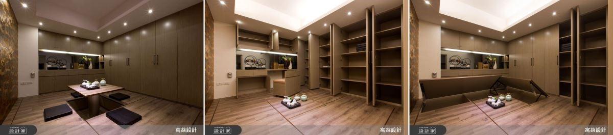 和室空間宛如變形金剛一般,既是收納櫃、麻將桌及書桌的使用之處。