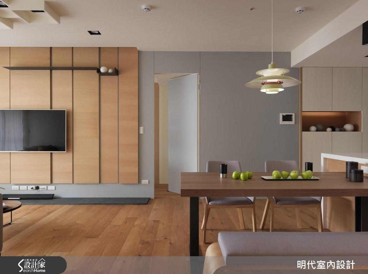建議將客廳與餐廚空間採開放設計,並置於同一水平,除了完成流暢動線,更大幅提升居住成員互動性。