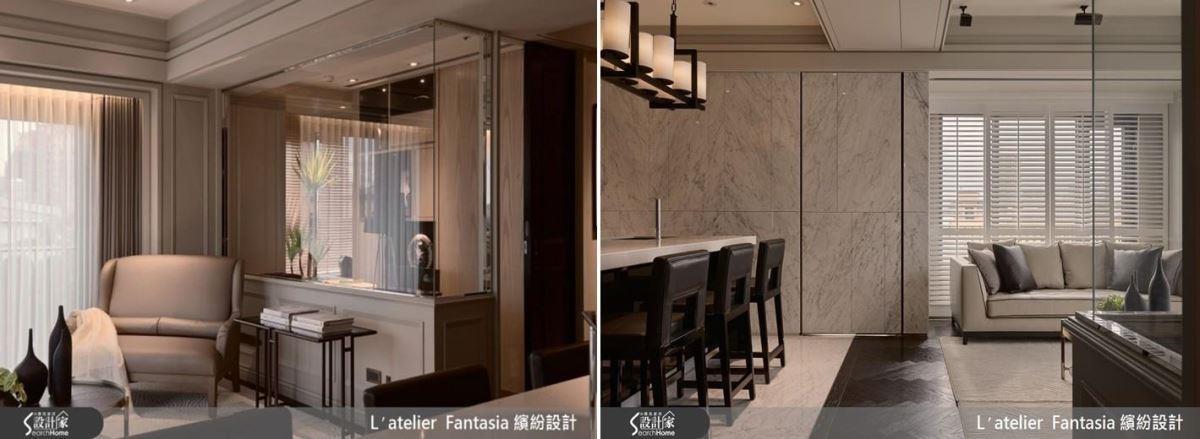 根據設計師專業指出,選用色彩相近的材質組合,並搭配大面積玻璃,即可瞬間達到空間雙倍放大的效果。