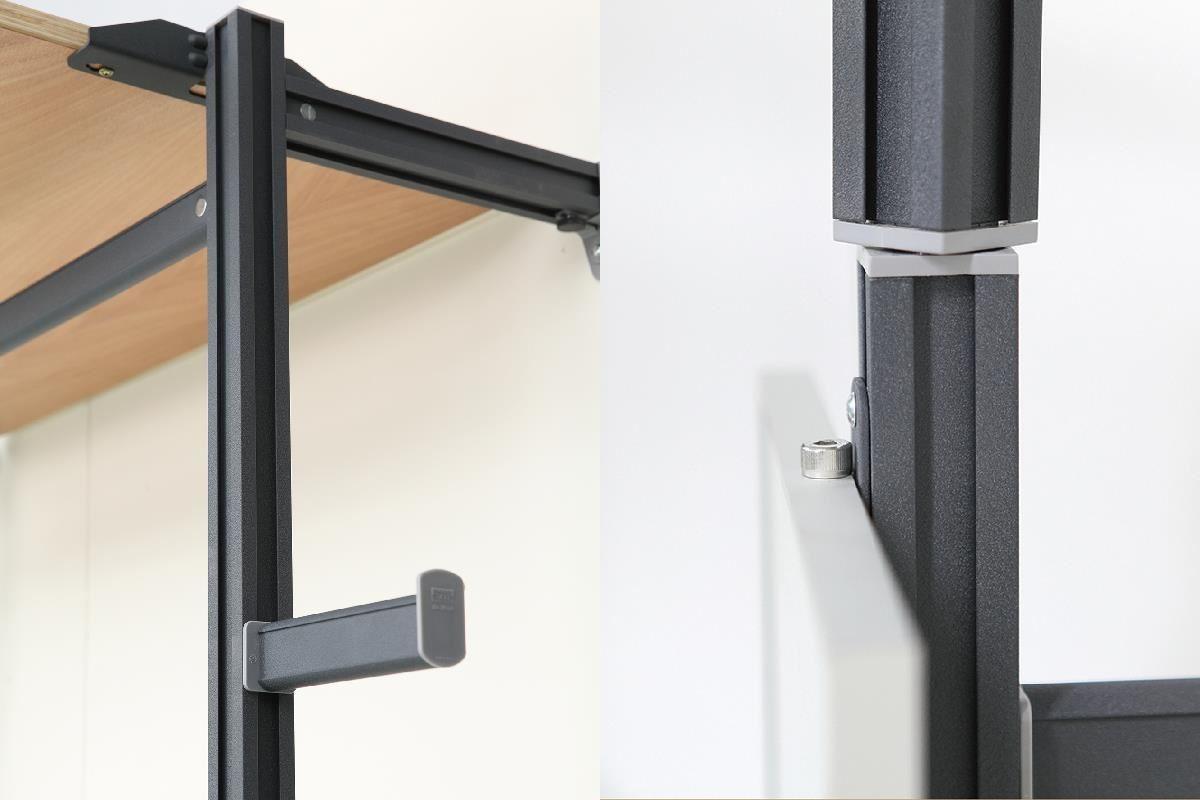 頂茂家居更衣間系列主體採用經優質粉體塗裝的鋁質金屬框架,獨特的四項設計加上專利連結零件、獨家活動吊桿與旋轉鋁柱等,可對應任何空間,提供最有效率的運用選項。