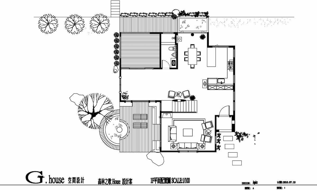 1F平面圖 A玄關/B客廳/C廚房/D餐廳/E衛浴/F和室/G緩衝空間兼過道/H戶外露台 攝影_Yvonne
